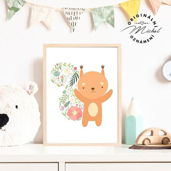 Plakát veverka květy