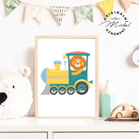 Plakát vláček lokomotiva pro kluky
