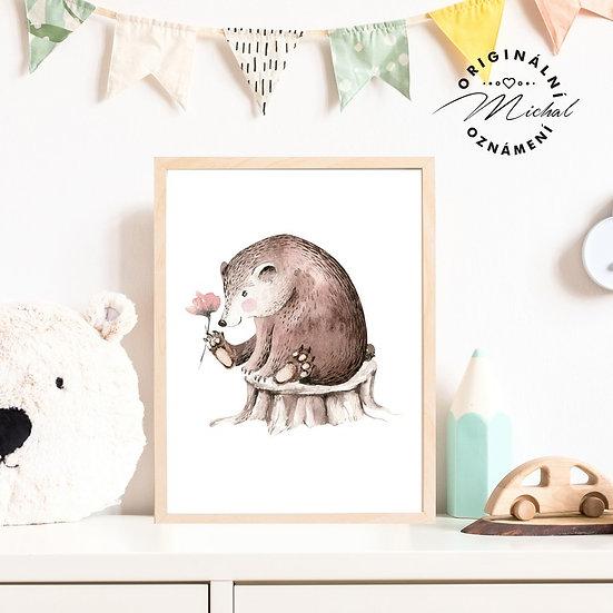 Plakát lesní medvěd s kytičkou medvídek