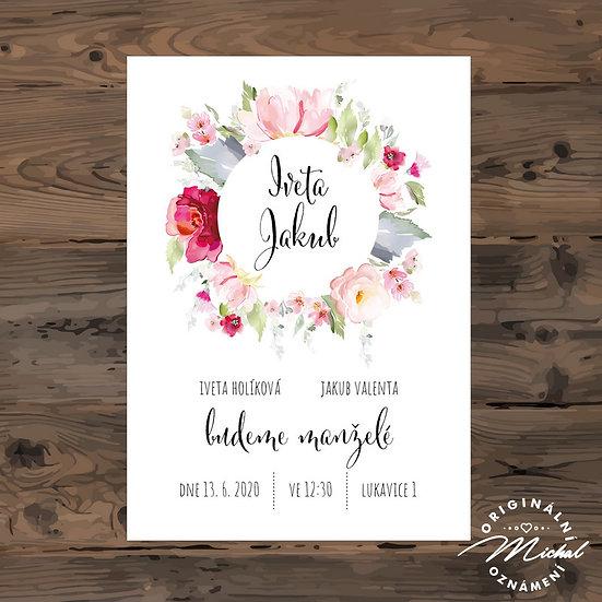 Svatební oznámení, červené květy, boho, přírodní, moderní svatební oznámeni