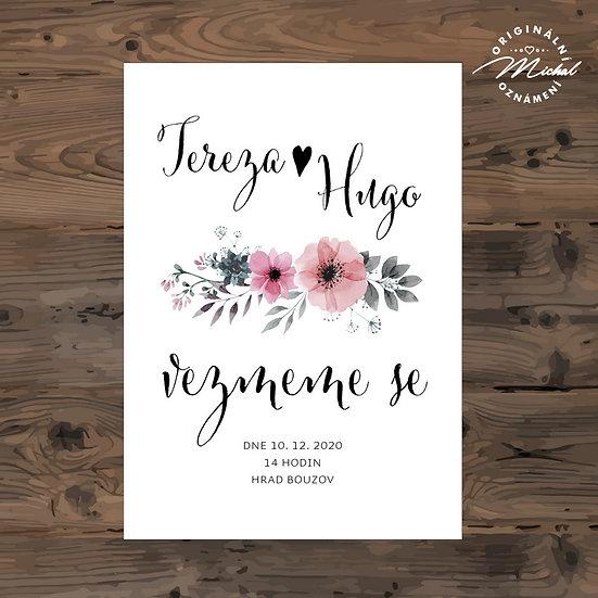 Svatební oznámení s růžovými květy