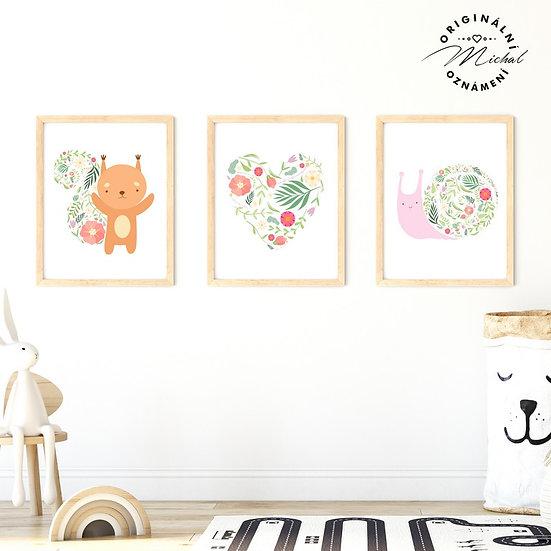 Plakát set zvířátka milunké s květy
