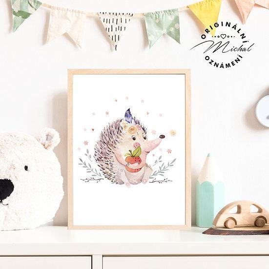 Plakát ježeček s jablíčkem