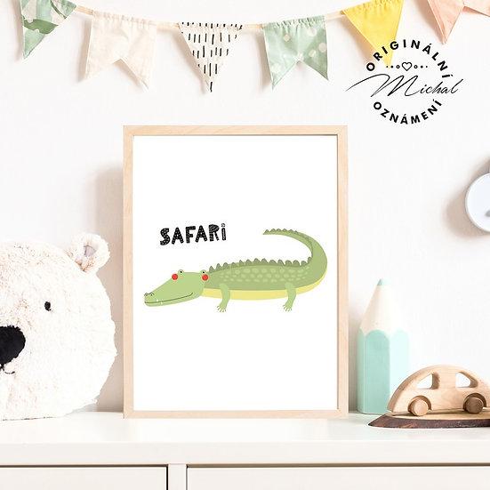Plakát krokodýl safari