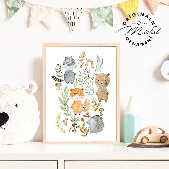 Plakát zvířátka v lese
