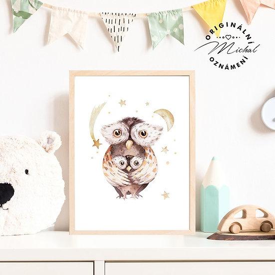 Plakát sova s maminkou sovička