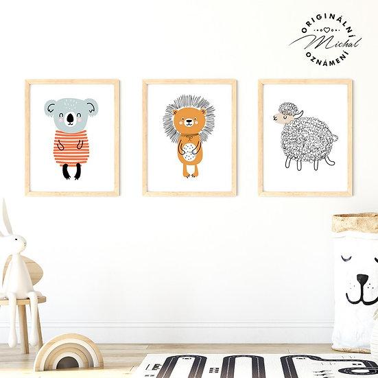 Plakát set koala ježek ovečka zvířátka