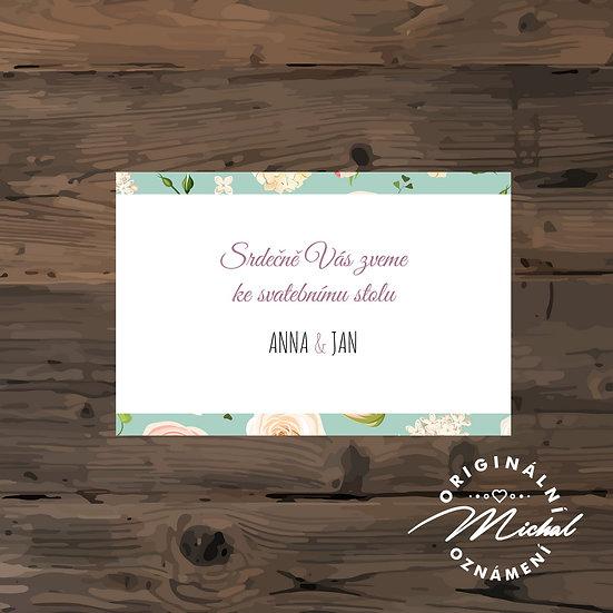 Pozvánka ke svatebnímu stolu - TYP 124