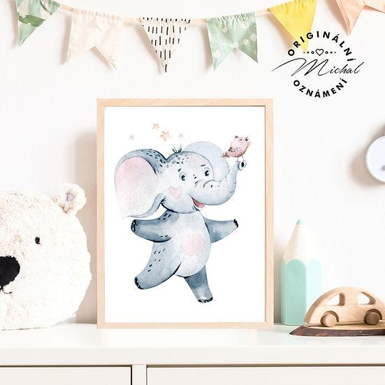 Plakát veselý slon s ptáčkem