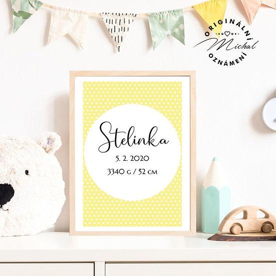 Plakát s údaji narození 10