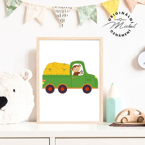 Plakát dodávka s opičkou