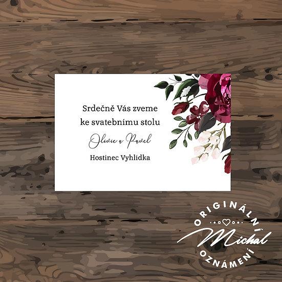 Pozvánka ke svatebnímu stolu - TYP 155