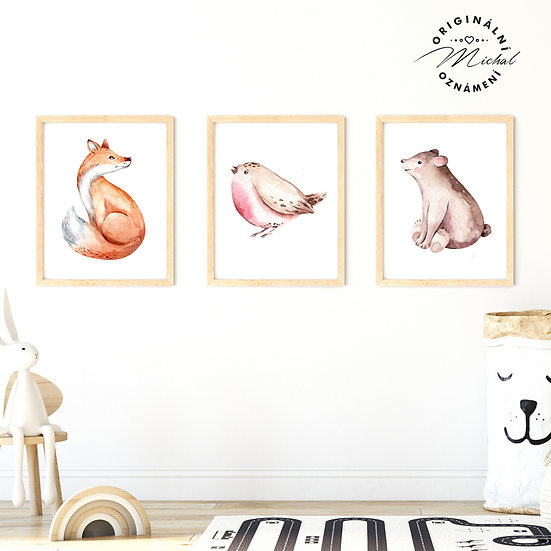 Plakát liška, ptáček medvídě les