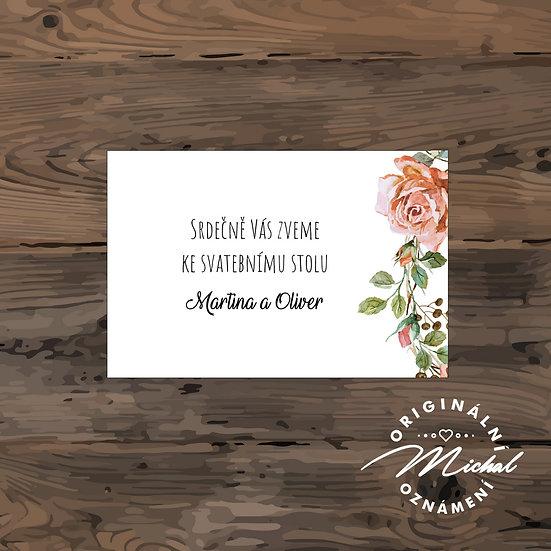 Pozvánka ke svatebnímu stolu - TYP 91