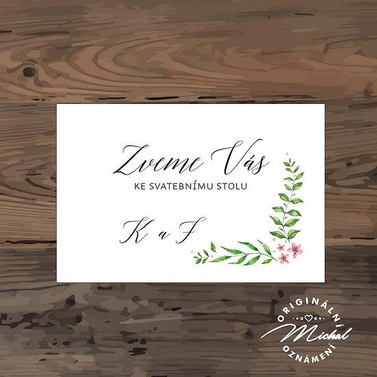 Pozvánka ke svatebnímu stolu - TYP 278