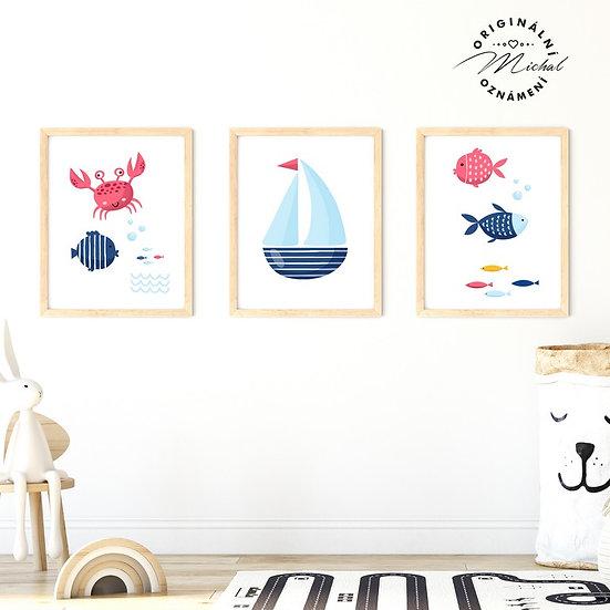 Plakát set moře lodě a ryby