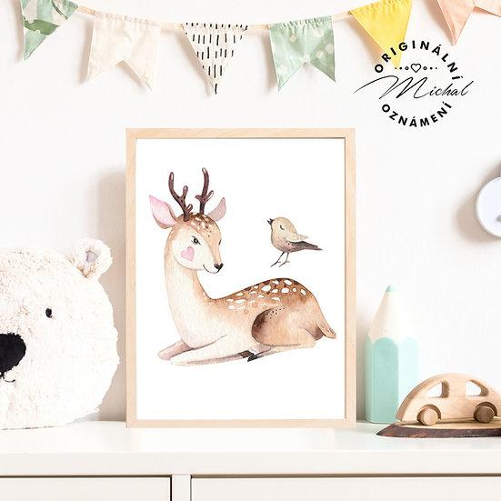 Plakát zamilovaný jelen jelínek