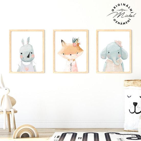 Plakát set Hrošíl, liška, sloník