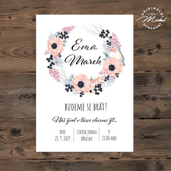 Svatební oznámení, růžové květy, věneček
