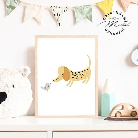 Plakát pejsek a ptáček kamarádi