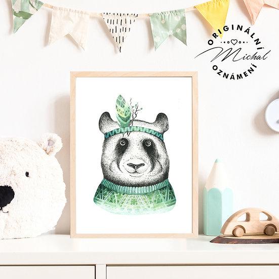 Plakát panda s pírkem