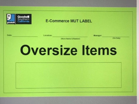 MUT Label - Oversize Items