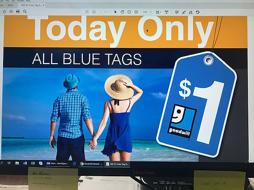 Color Tag $1 Sale Sign