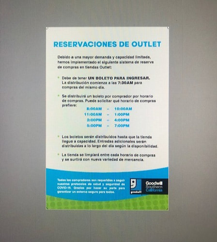 Outlet Center Admission Ticketing Items