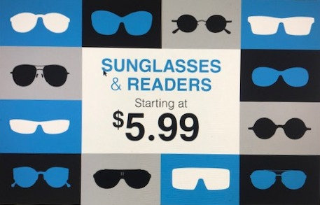 Rack Sign Sunglasses & Readers