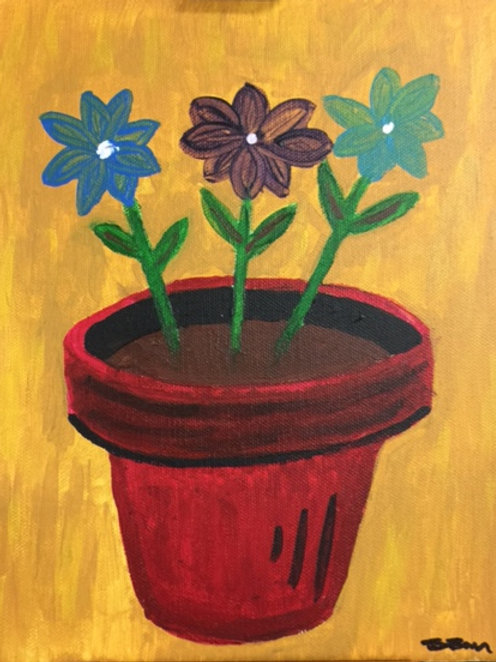 Acrylic on Canvas - Red Pot
