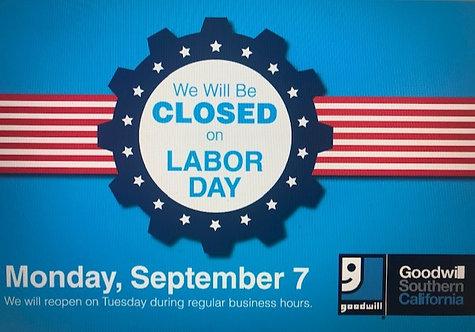 Labor Day Closure Sign