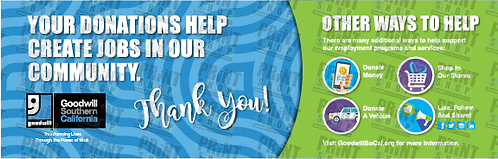 """Banner - """"Thank You for Donating and Other Ways to Help"""" Donation Area"""
