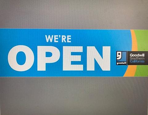 """Banner """"We're Open"""""""