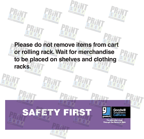Rack Sign COVID Don't remove items from Z-rack/Cart
