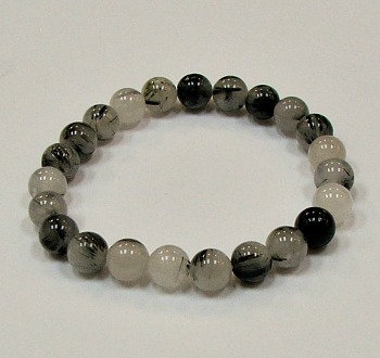 Tourmalated Quartz 8 MM stone bracelet