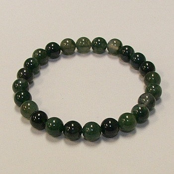 Moss Agate 8 MM stone bracelet