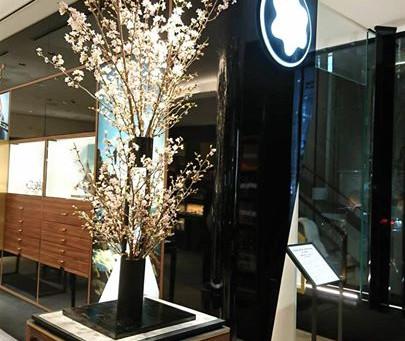 モンブラン銀座本店にて桜の公開活け込み