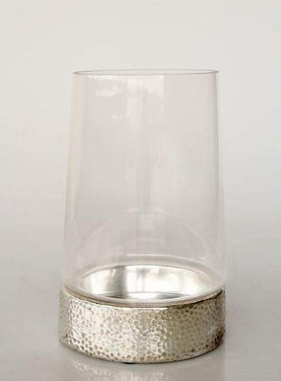CR171  SILVER CERAMIC GLASS TOP CANDLE H
