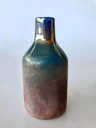 GLASS274  SMOKEY BLUE GLASS BOTTLE  26CM