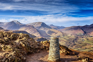 Catbells mountain summit cairn with view