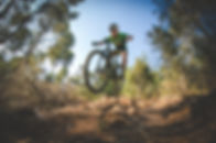 Wide angle view of a mountain biker spee