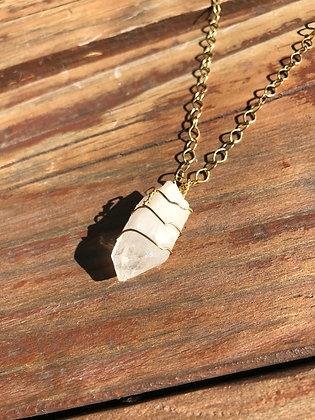 Quartz crystal in Brass Necklace