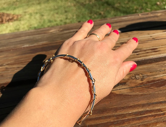Silver and Brass Bangle Bracelet