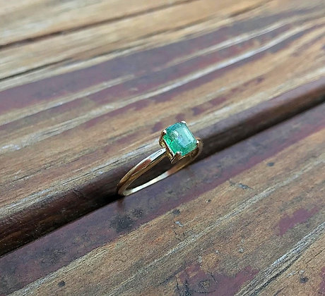 0.63ct Emerald in Pure Yellow Gold Ring size 6 1/2