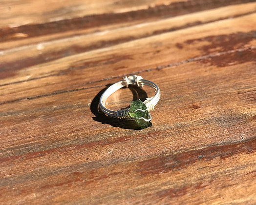 Green Tourmaline in Silver Ring