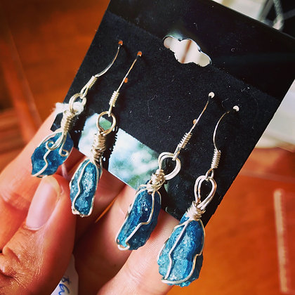 Blue apatite in sterling silver earrings