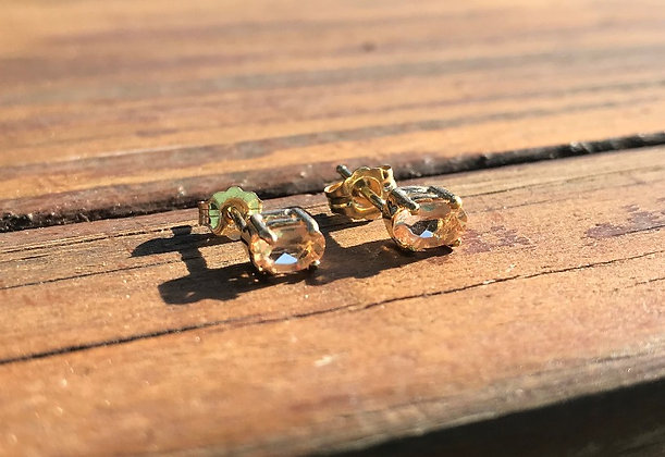 Imperial Topaz in Yellow Gold Earring Studs