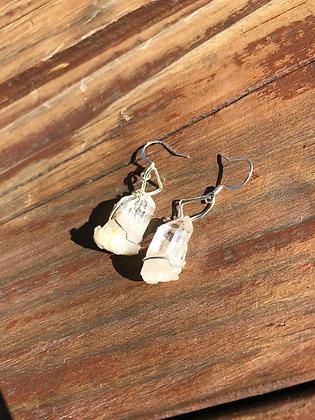 Quartz crystals in Silver Earrings