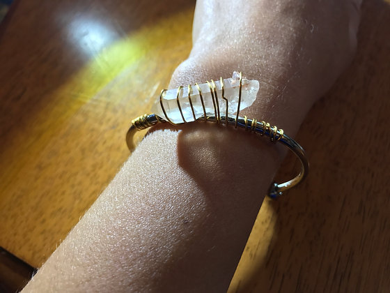 Quartz crystal in Brass and Silver Bangle Bracelet