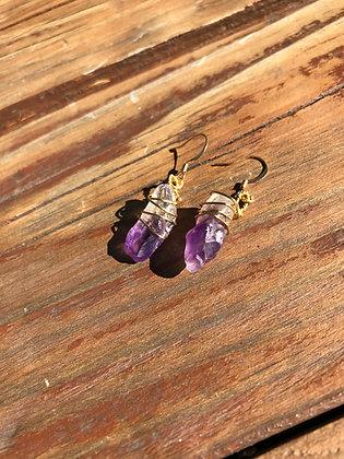 Amethyst in Brass Earrings